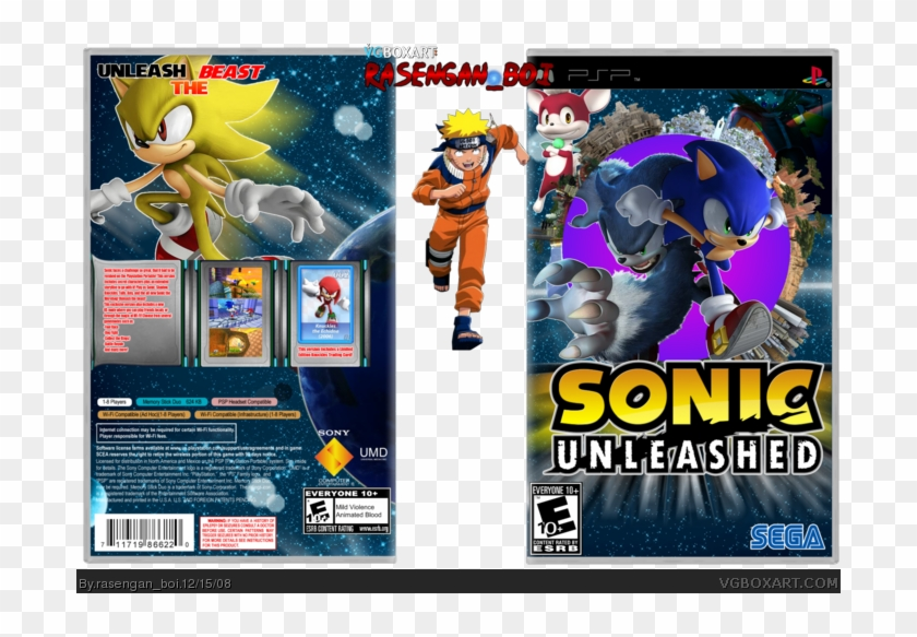Wii clipart covers download jpg freeuse library Psp Box Art Cover By Rasengan Boi - Sonic Unleashed, HD Png ... jpg freeuse library