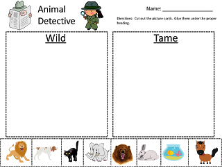 Wild about kindergarten clipart image download Wild Animals vs Tame Animals Kindergarten Sorting Activity ... image download
