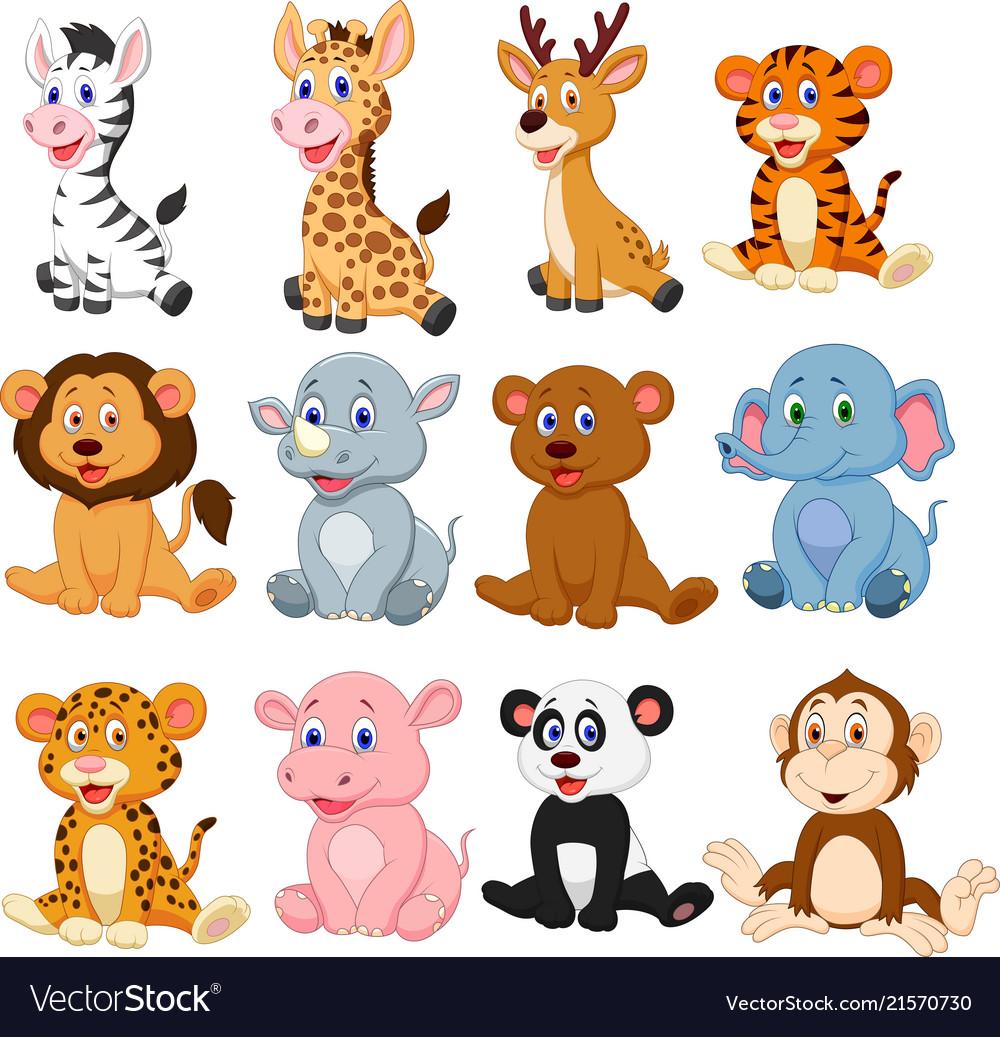 Wild animal cartoon clipart transparent download Wild animals cartoon collection set transparent download