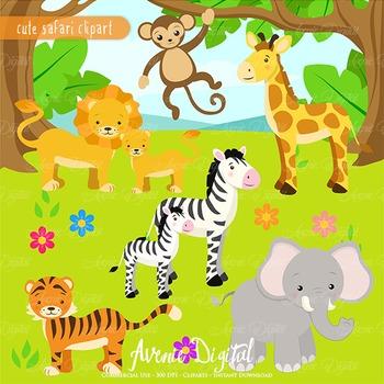 Wild animal clipart images image transparent download Cute Safari Clipart Scrapbook printables, baby wild animals clip art set image transparent download