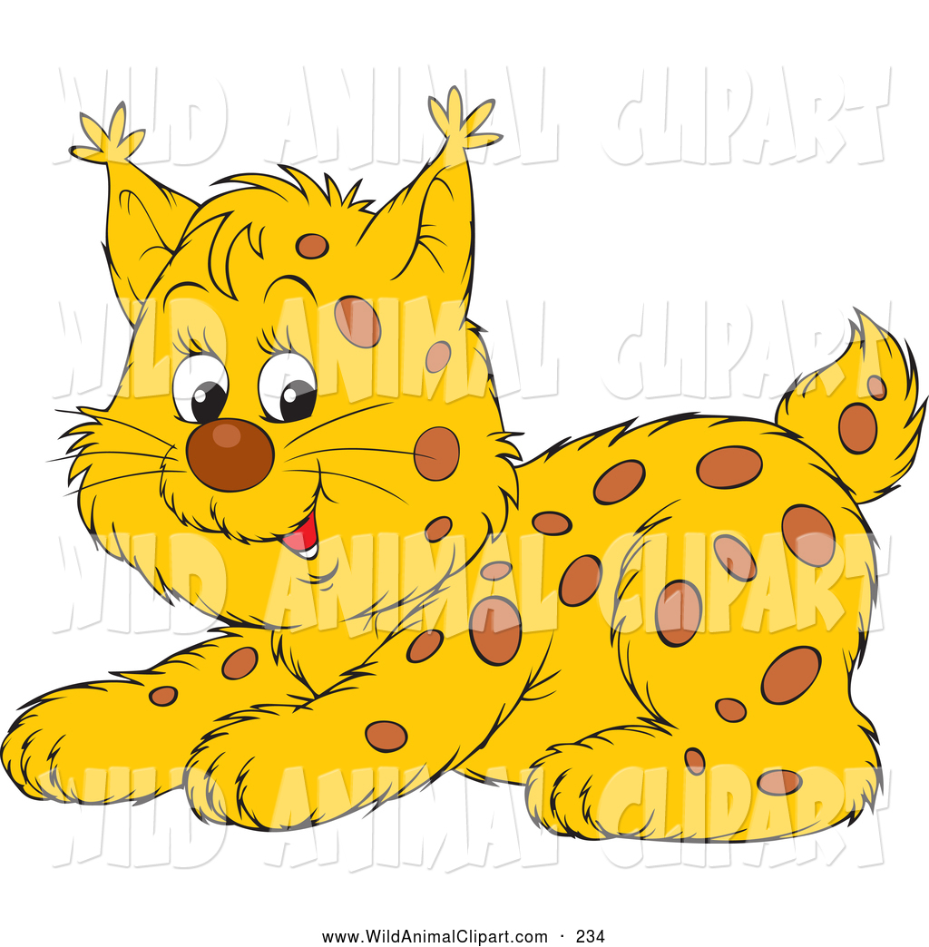 Wild cat animal clipart banner library Clip Art of a Adorable Playful Spotted Wildcat Cub Crouching ... banner library