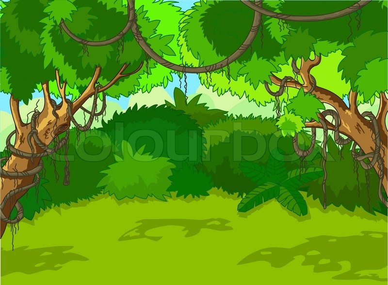 Wild forest clipart jpg freeuse stock A Green Tropical Forest Landscape with ... | Stock vector ... jpg freeuse stock