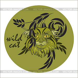 Wild forest clipart image stock Wild forest cat - vector clipart image stock