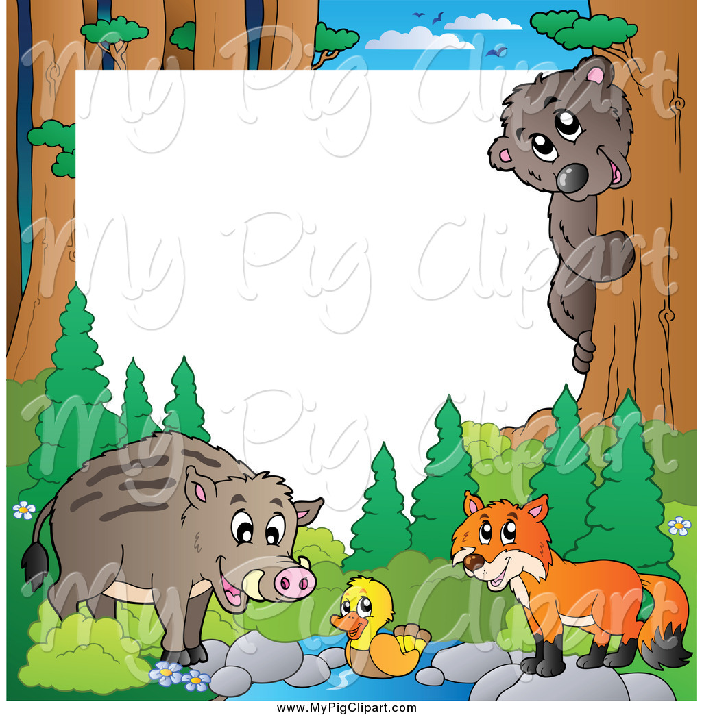 Wild forest clipart image transparent download Swine Clipart of a Border of a Wild Pig and Forest Animals ... image transparent download
