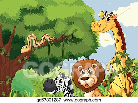 Wild forest clipart clipart stock Vector Art - A forest with scary wild animals. EPS clipart ... clipart stock