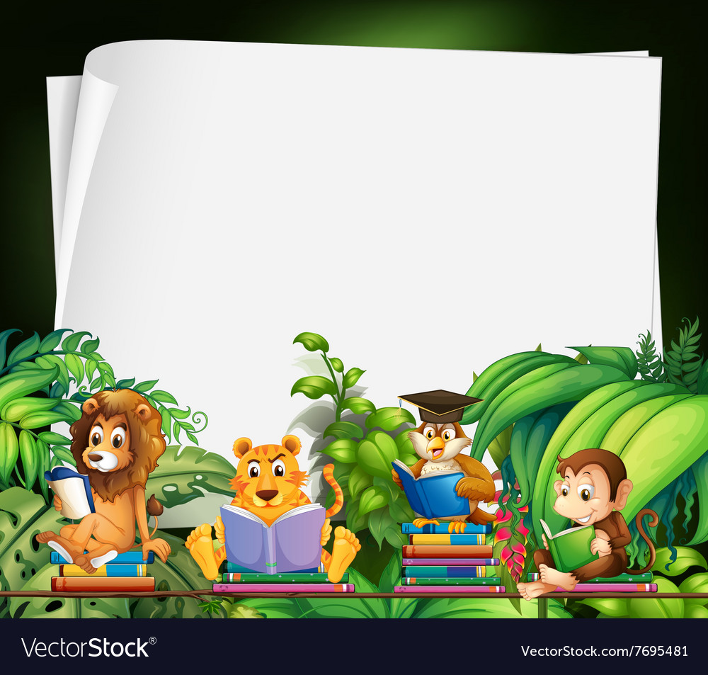 Wild game border clipart banner black and white library Border design with wild animals reading books banner black and white library