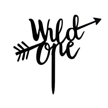 Wild one clipart svg black and white download Wild One With Arrow Cake Topper - First Birthday Cake Toppers -Black Happy  Birthday Baby Shower Party Decorations Supplies svg black and white download