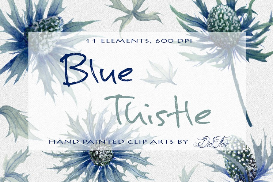 Wild thistle clipart vector transparent library Blue Thistle Watercolor Clip Art vector transparent library