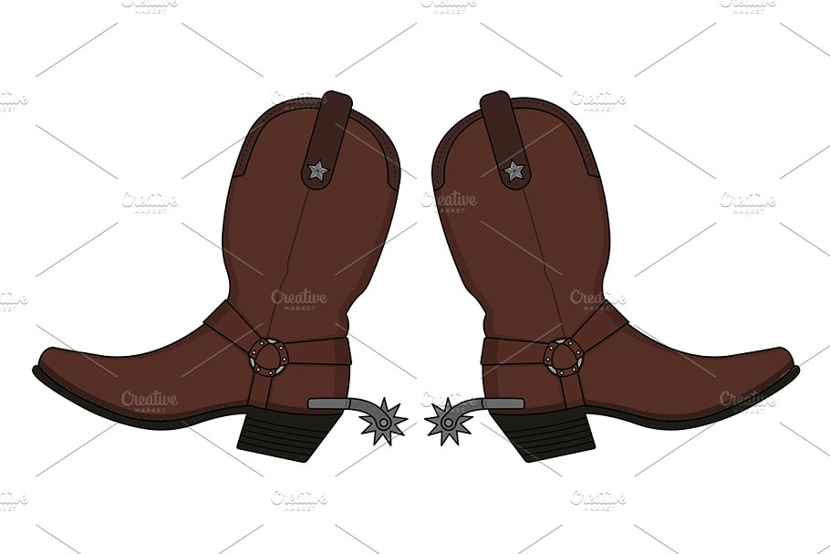Wild west boots clipart picture royalty free download Wild west cowboy boots. Vector picture royalty free download