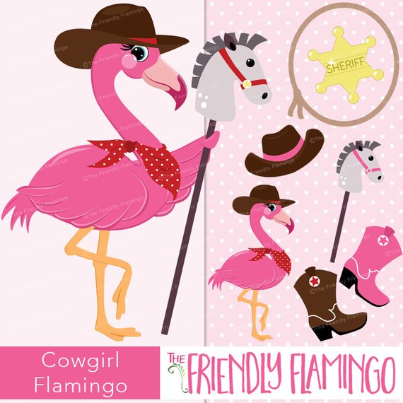 Wild west clipart pink black and white stock Cowgirl flamingo clipart, pink girl flamingo, sheriff, horse ... black and white stock