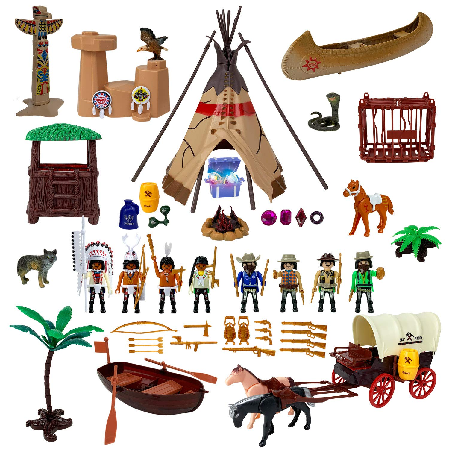 Wild west heading clipart png Liberty Imports Deluxe Wild West Cowboys and Indians Plastic Figures  Playset - Educational Toy Soldiers Native American Action Figurines and ... png