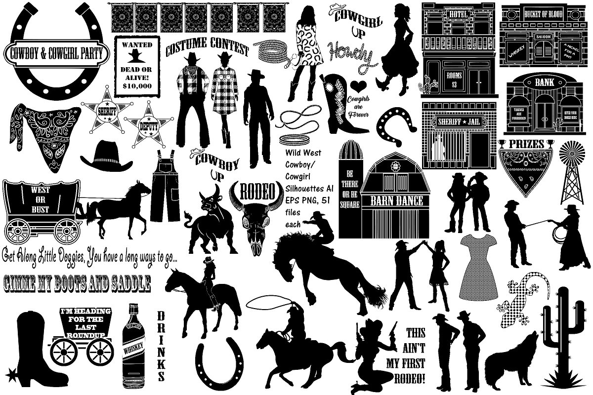 Wild west heading clipart clip art black and white library Cowboy/Cowgirl Party AI EPS PNG ~ Illustrations ~ Creative ... clip art black and white library