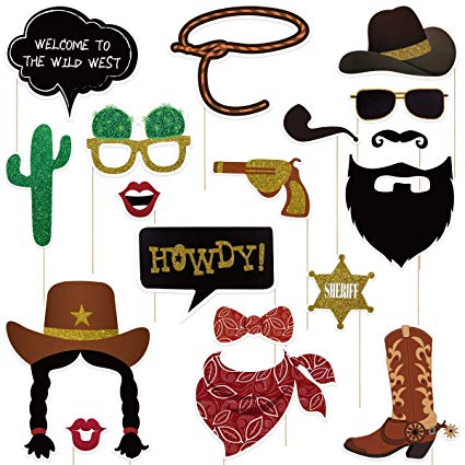 Wild west heading clipart clip Amosfun West Cowboy Photo Booth Props Wild Western Cowboy Party Themed  Decoration 18pcs clip