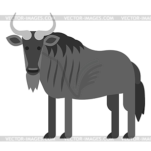 Wildabeast clipart free library Flat style black wildebeest - vector clipart free library