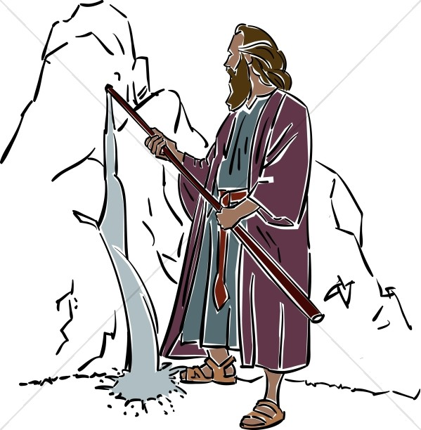 Wilderness clipart biblical image free download Moses Draws Water from the Rock | Moses Clipart image free download