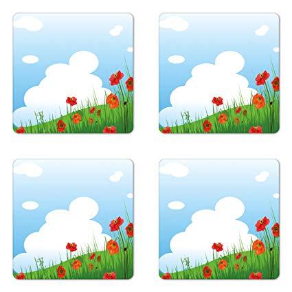 Wilderness vs field clipart clip free stock Amazon.com: Ambesonne Poppy Coaster Set of Four, Idyllic ... clip free stock