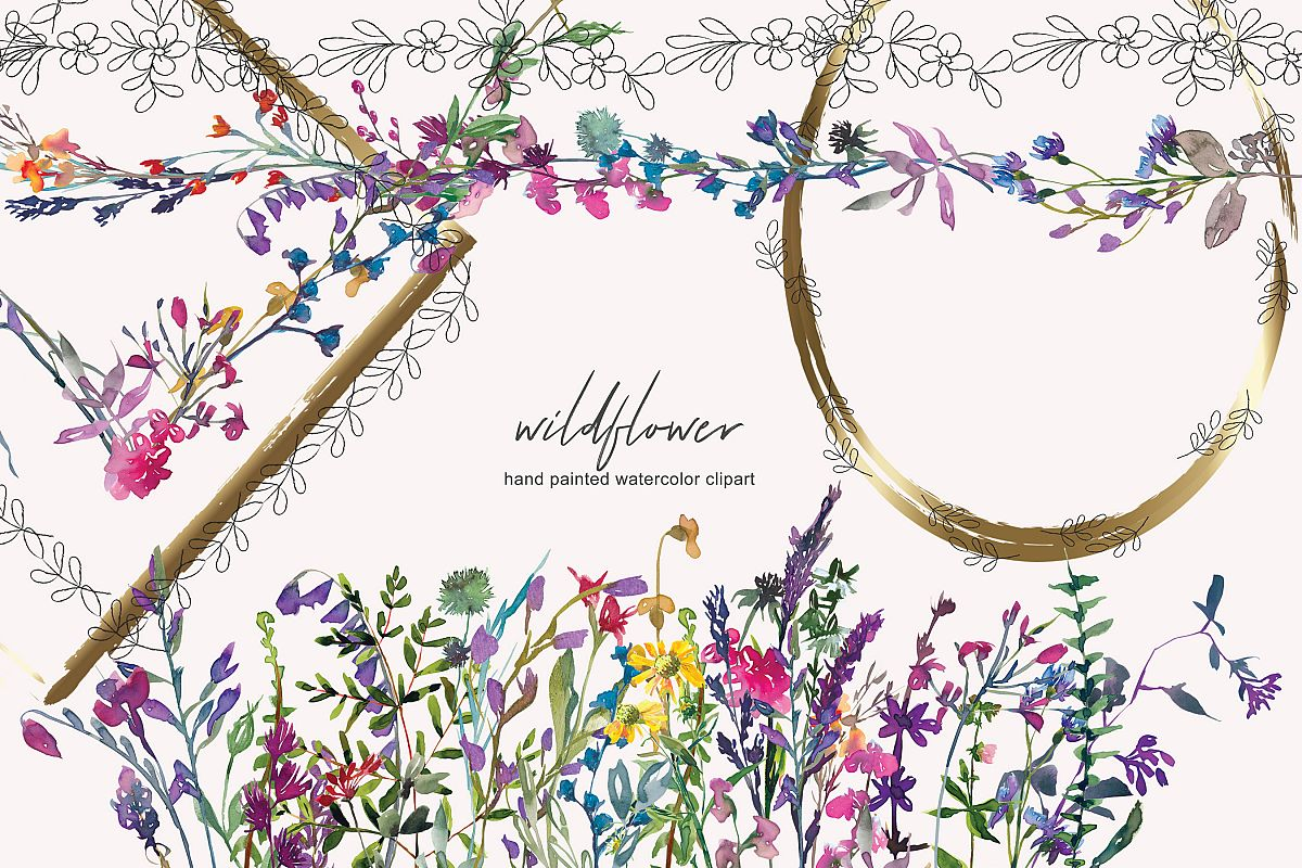 Wildflower clipart images image download Watercolor Wildflower Clipart - Subtle Frame Collection image download