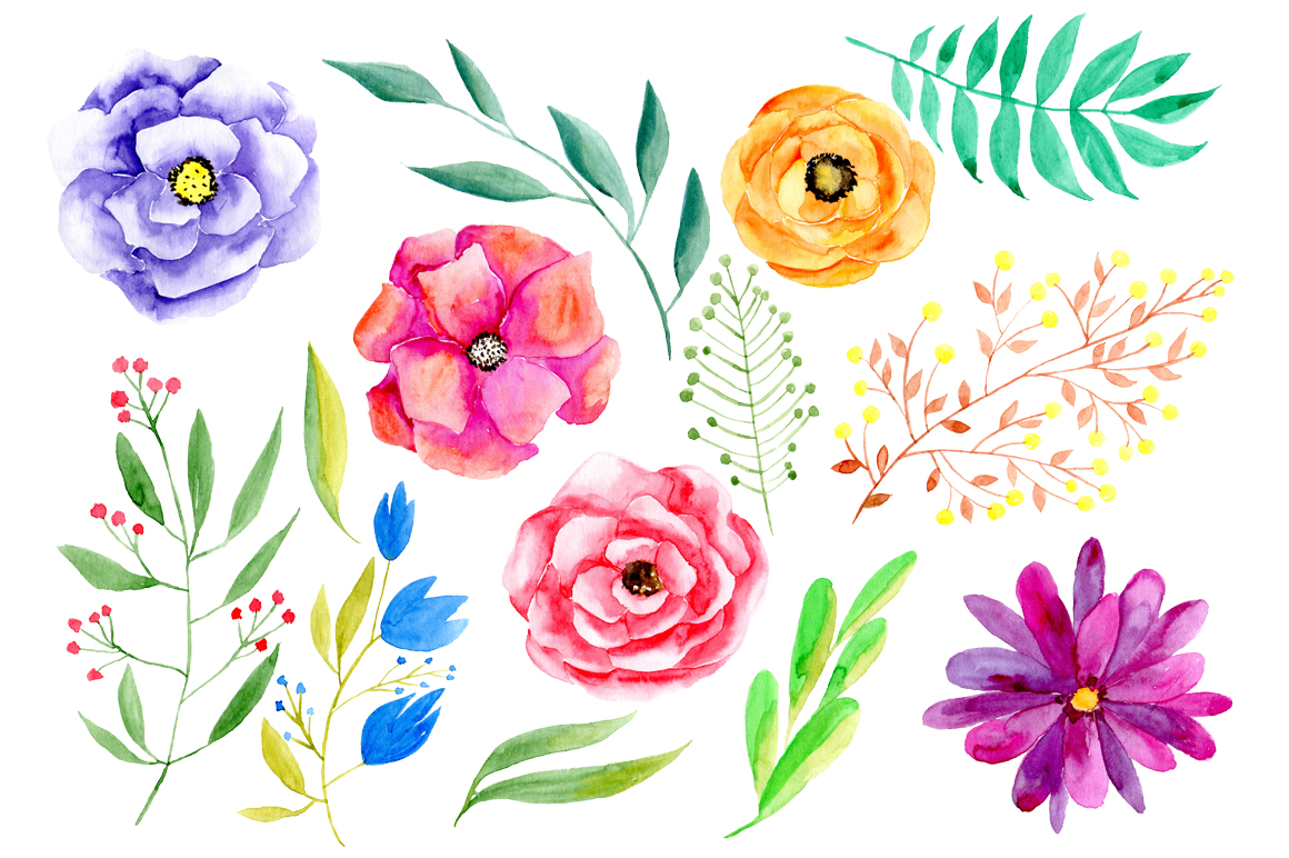 Watercolour flowers clipart svg royalty free library Collection of 14 free Watercolor clipart wildflower aztec ... svg royalty free library