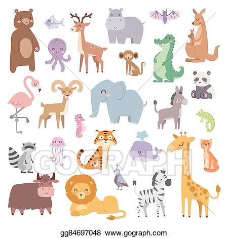 Wildlife clipart vector banner freeuse library Vector Clipart - Cartoon zoo animals big set wildlife mammal ... banner freeuse library