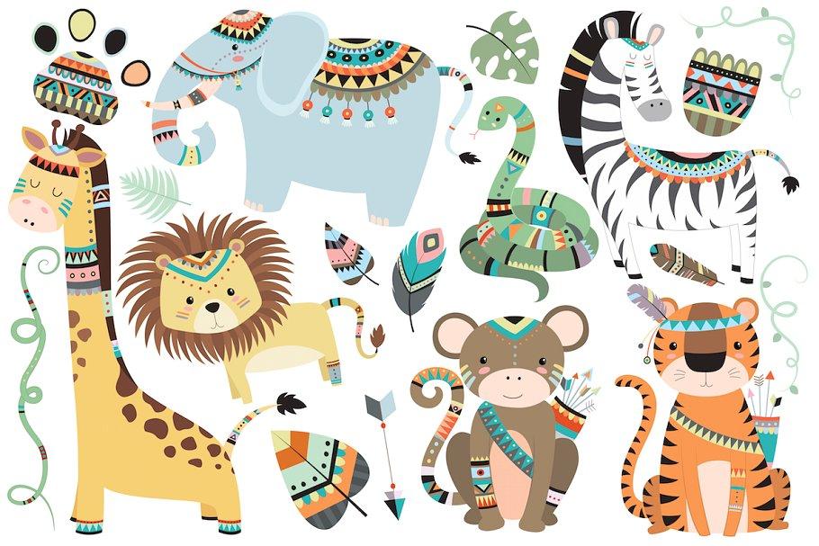 Wildlife clipart vector transparent Tribal Jungle Animals Vector & PNG transparent