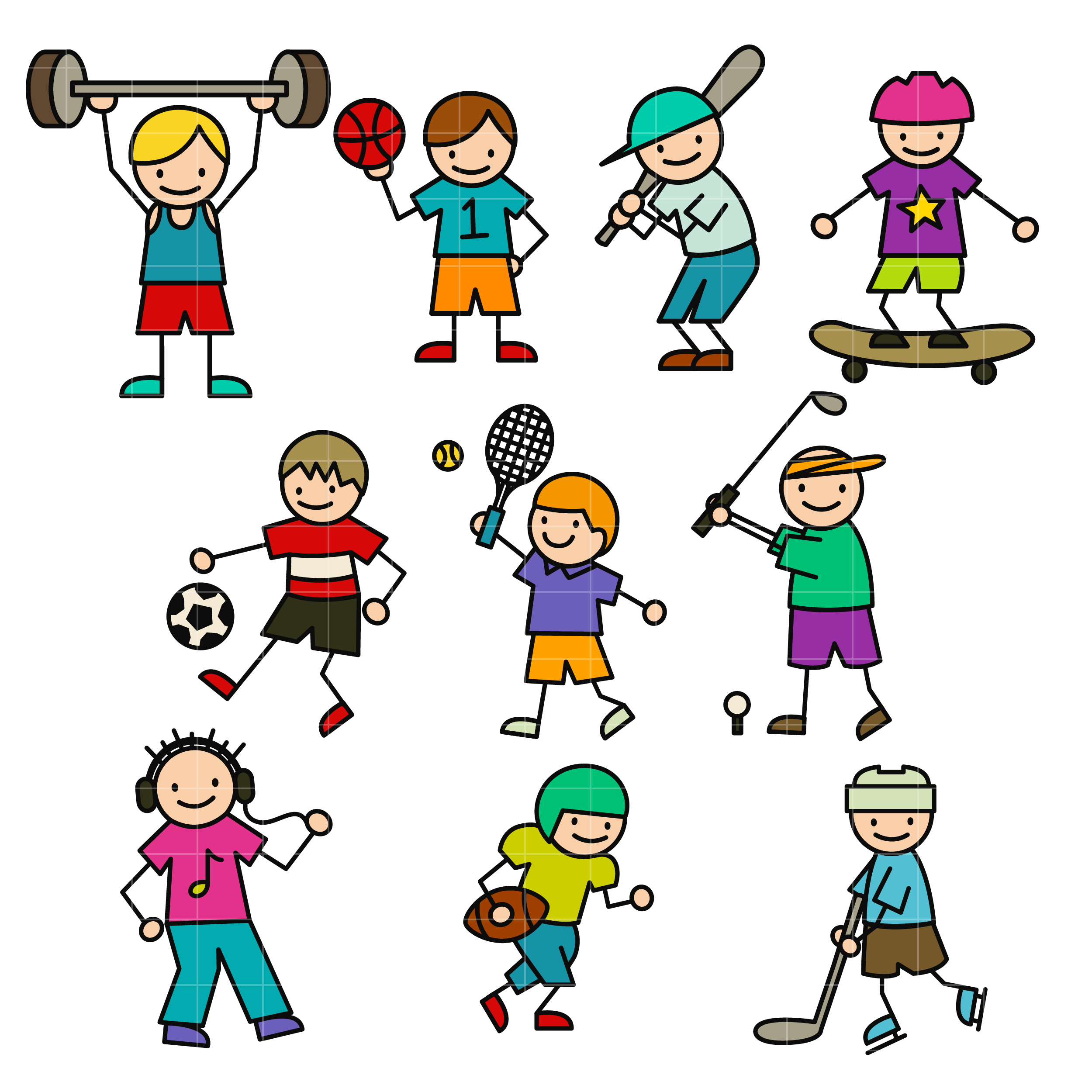 Will it stick clipart clipart freeuse Sporty Stick Kids Set Semi Exclusive Clip Art Set For Digitizing and More clipart freeuse