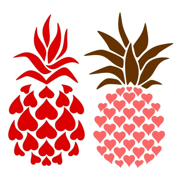 Williiamsburg style pineapple clipart graphic transparent library Pineapple Heart SVG Cuttable Design | Food and Drink ... graphic transparent library