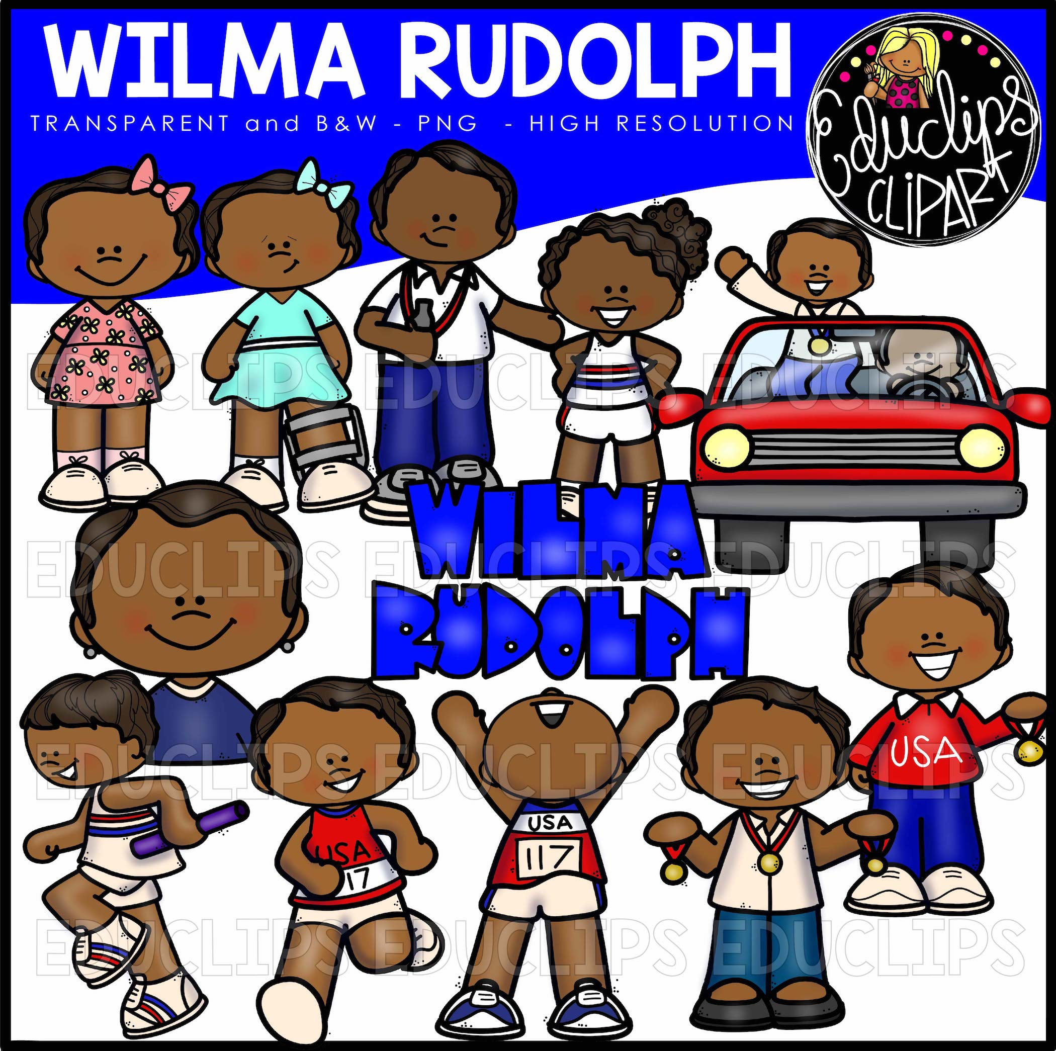 Wilma mother clipart image library stock Wilma Rudolph Clip Art Bundle (Color and B&W) image library stock
