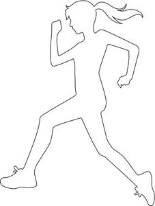 Girl running clipart black and white free library Running Clipart Image - Girl or Woman Running or Jogging ... free library
