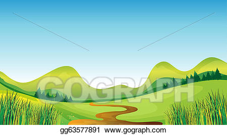 Winding farm road clipart image black and white library Vector Illustration - A winding road and mountains. EPS ... image black and white library