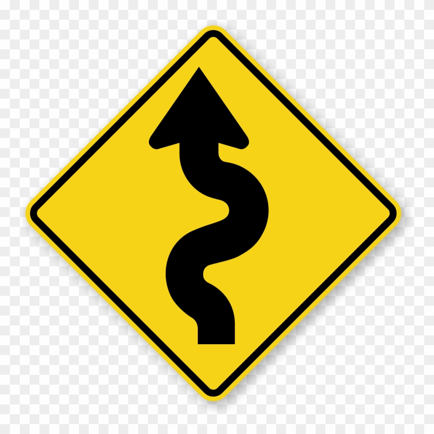 Winding road map clipart vector royalty free Narrow Road Signs - Winding Road Sign Png Clipart (#199843 ... vector royalty free