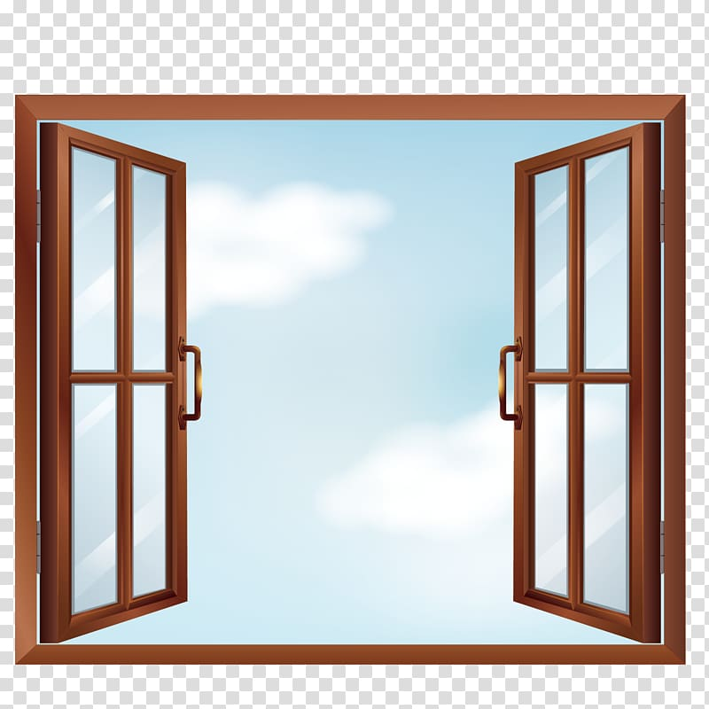 Window clipart clear background image free Brown casement open window, Window , open windows ... image free