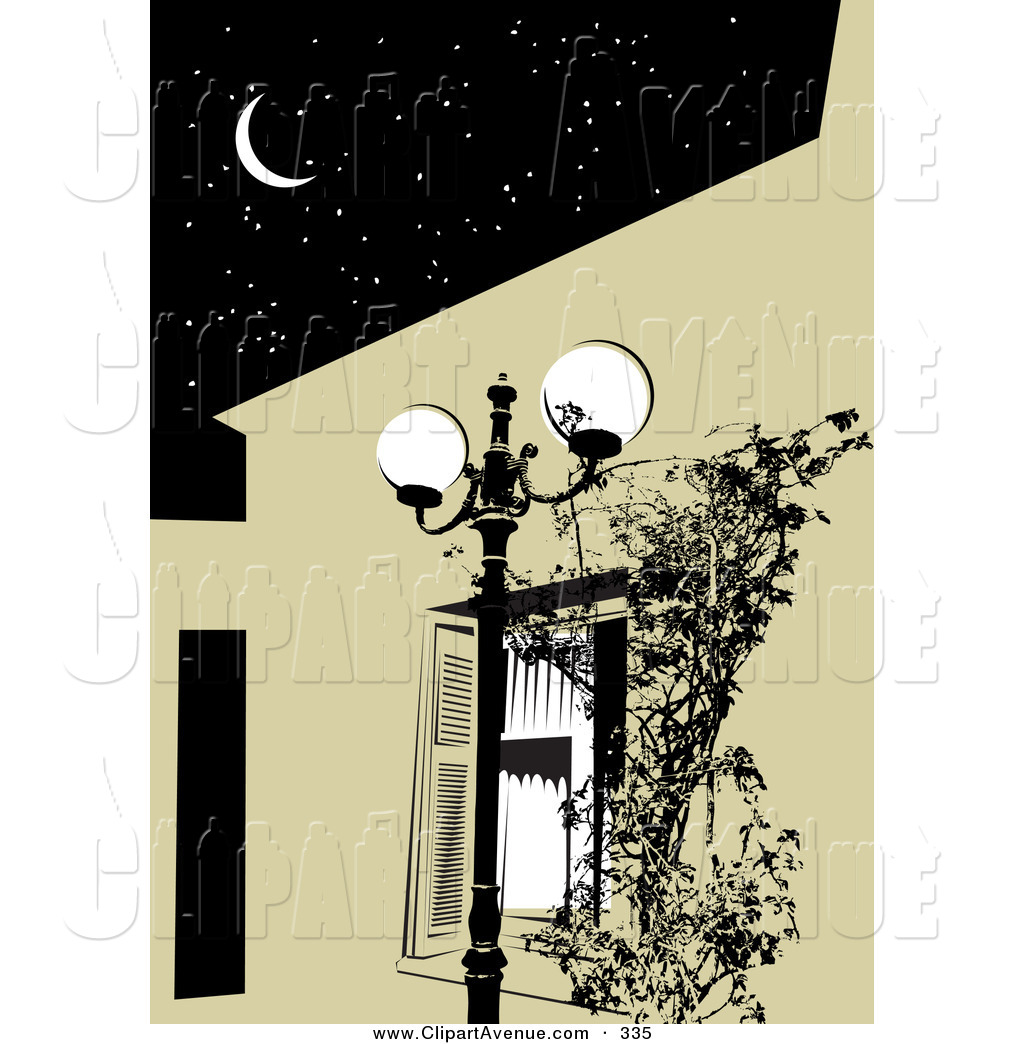 Window clipart street svg transparent library Avenue Clipart of a Bright Street Lamp by a Window with ... svg transparent library