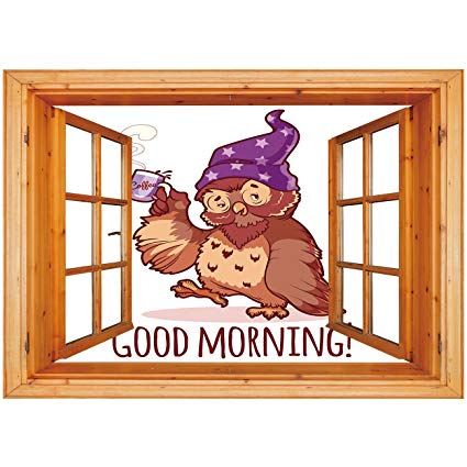 Window coffee morning clipart picture library stock Amazon.com: 3D Depth Illusion Vinyl Wall Decal Sticker ... picture library stock