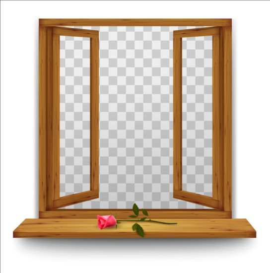 Window frame clipart no background svg free download Open window with red rose and transparent background ... svg free download