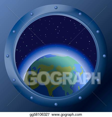 Window in space ship clipart vector library library Vector Clipart - Window with planets mother earth. Vector ... vector library library