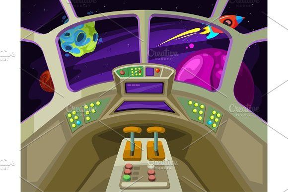 Window in space ship clipart clip black and white download Cartoon spaceship cabin interior with windows into space ... clip black and white download