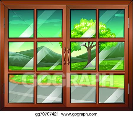 Window view clipart clipart library download Vector Art - A closed window with a view of the road ... clipart library download