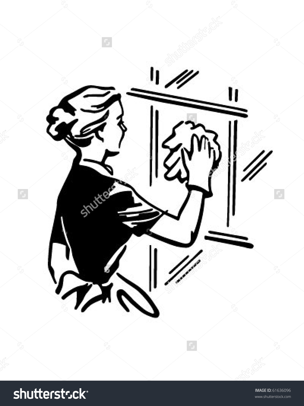 Window washing clipart graphic free library Woman Cleaning Window Retro Clip Art Stock Vector 61636096 ... graphic free library