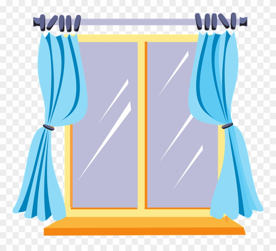 Window with drapes clipart picture freeuse download Curtains Closet Cliparts - Window Clipart - Png Download ... picture freeuse download