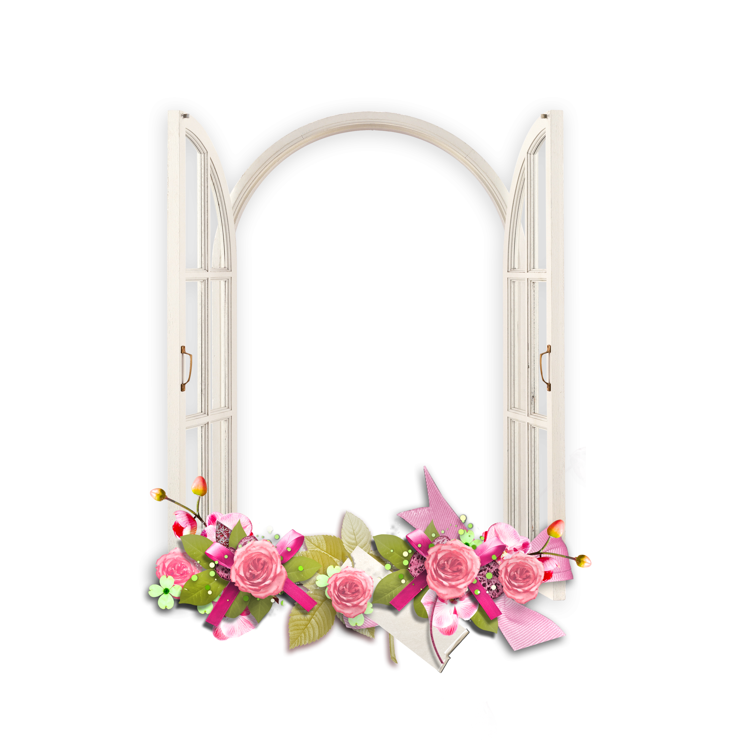 Windowframe picture frame clipart banner black and white library Window with Pink Flowers Transparent Frame | Paper Crafts ... banner black and white library