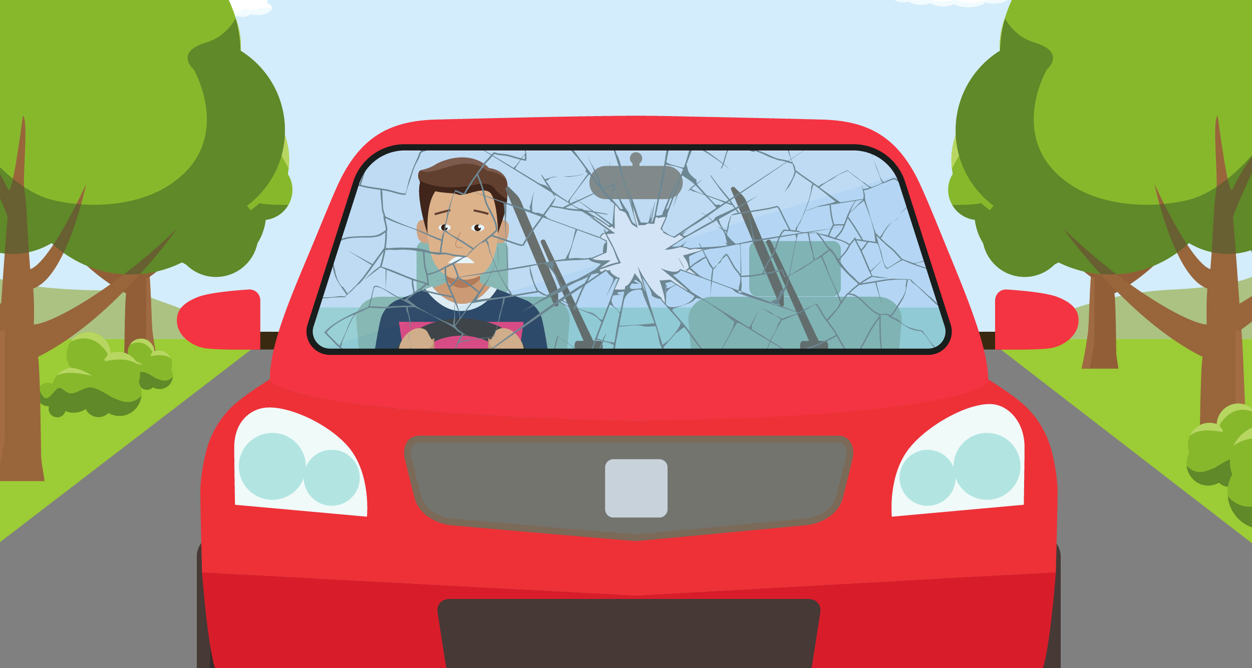 Windshield looking out clipart vector transparent library What To Do If Your Windscreen Breaks While Driving | The ... vector transparent library