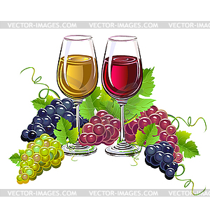 Wine and grapes clipart free download Glass of wine and grapes - vector clipart free download