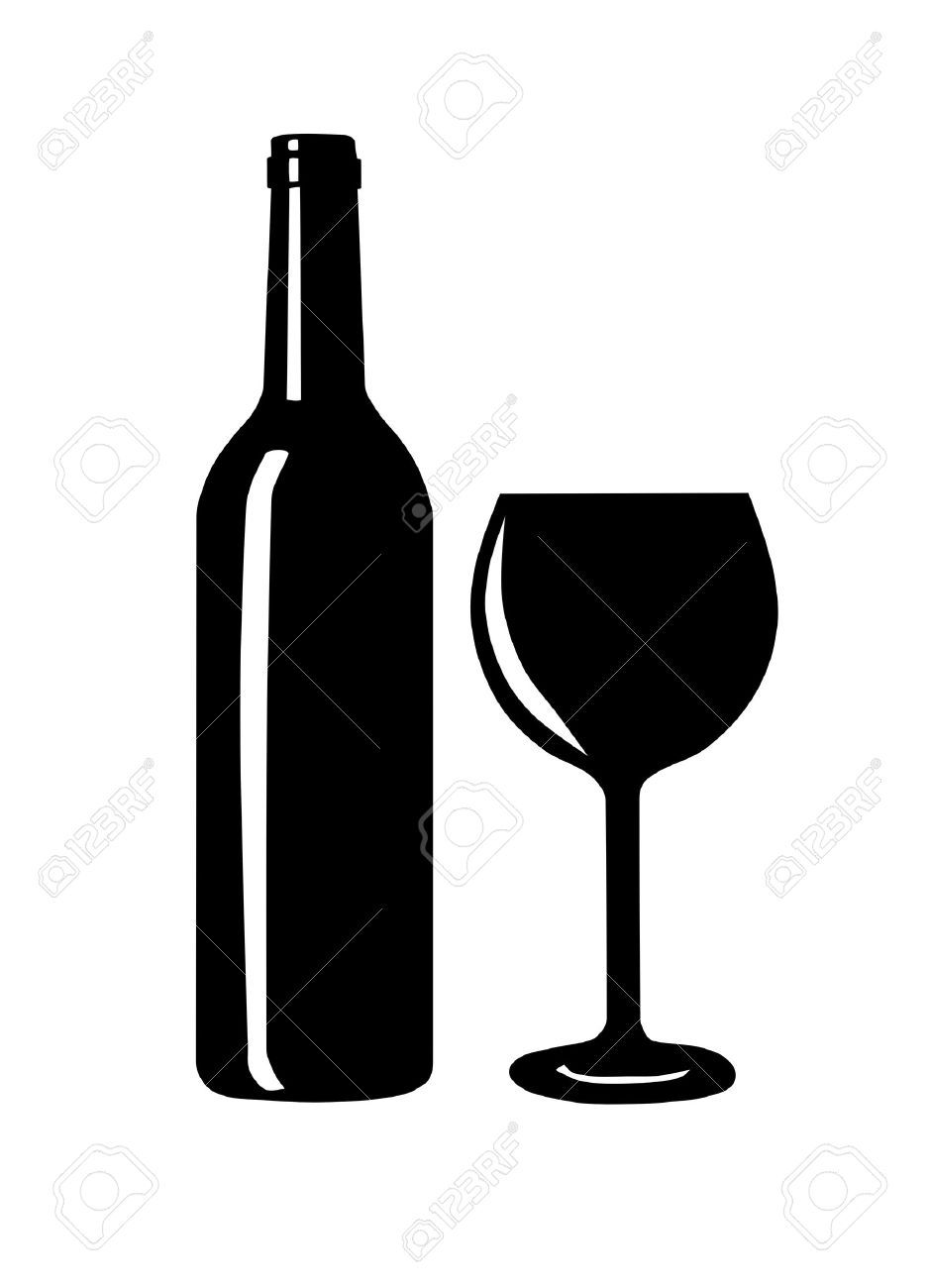 Wine bottle and glass clipart image black and white Wine bottle and glass clipart 1 » Clipart Portal image black and white