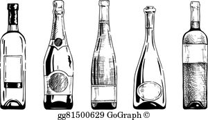 Wine bottle black and white clipart svg royalty free library Wine Bottle Clip Art - Royalty Free - GoGraph svg royalty free library
