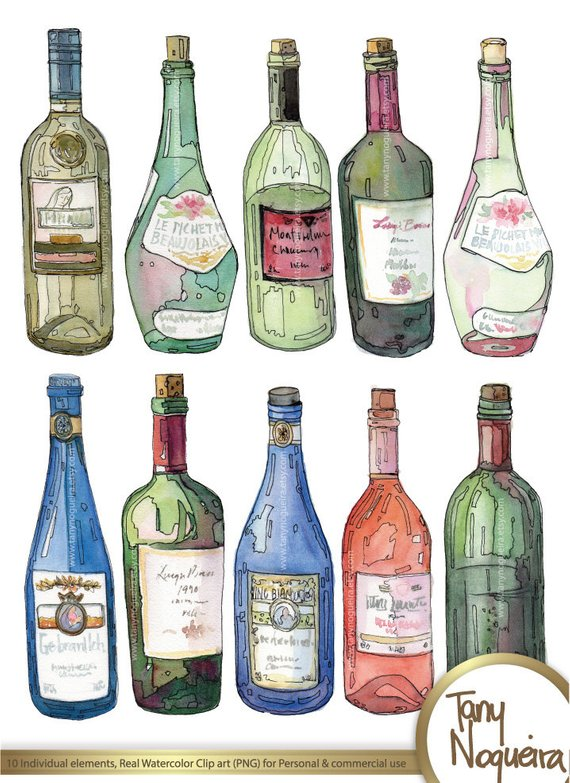 Wine bottle clipart watercolor black and white Wine Bottles, Glass Bottles, colored clip art images ... black and white