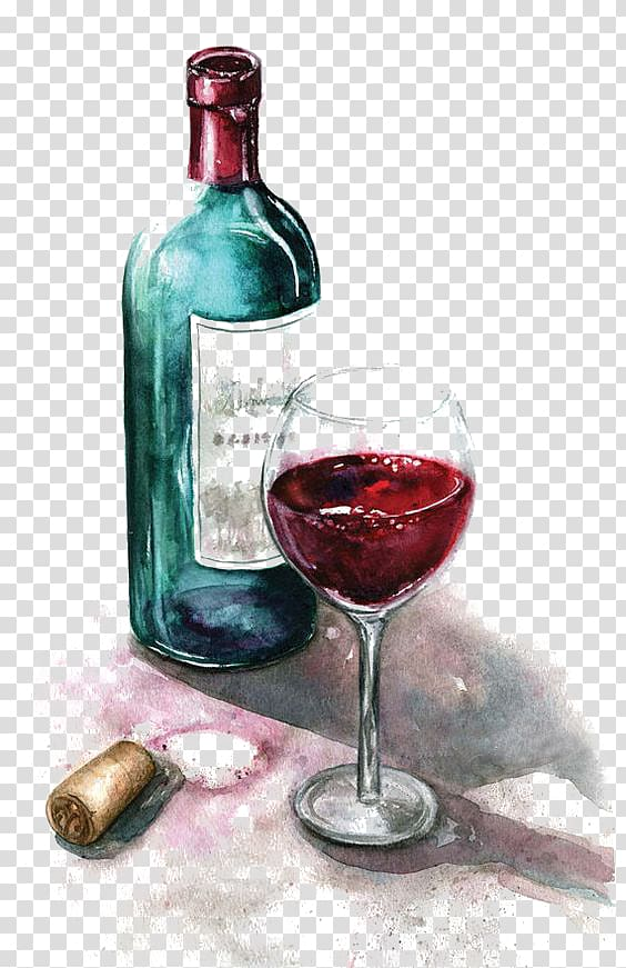 Wine bottle clipart watercolor vector library Red wine glass bottle and wine glass illustration, Red Wine ... vector library