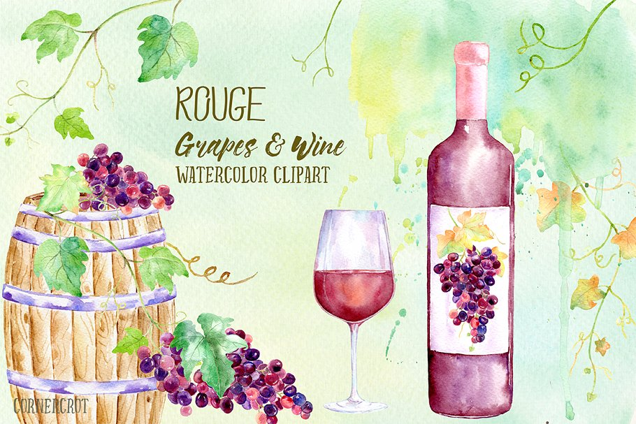 Wine bottle clipart watercolor graphic transparent Watercolor Rouge Grapes and Wine ~ Illustrations ~ Creative ... graphic transparent