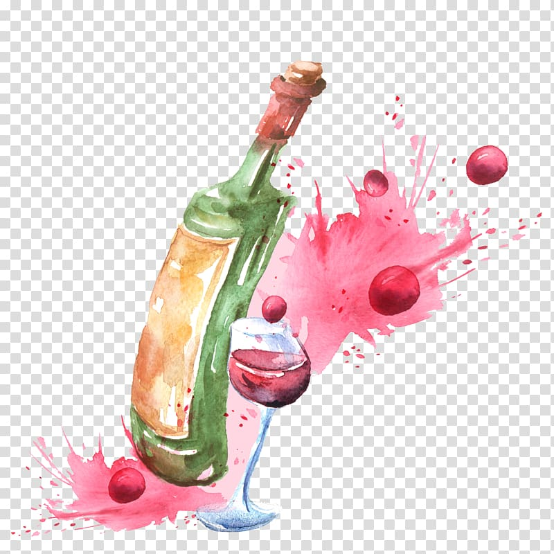 Wine bottle clipart watercolor clip black and white download Green bottle illustration, Red Wine Champagne Wine cocktail ... clip black and white download