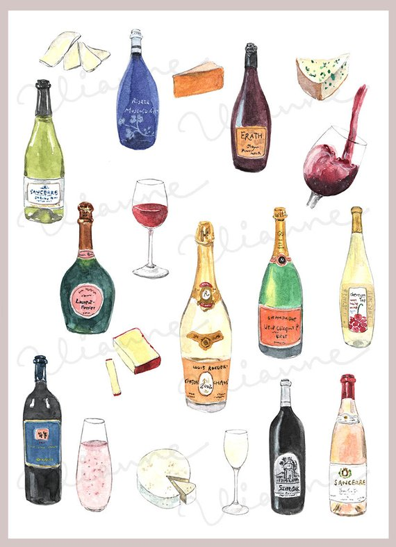 Wine bottle clipart watercolor clipart stock CLIP ART- Watercolor Wine & Cheese Set. 19 Images. Digital ... clipart stock