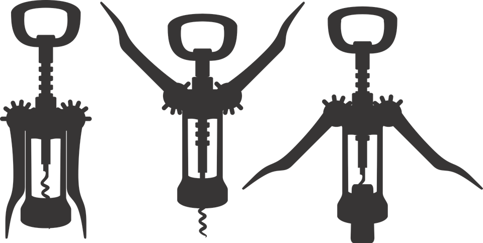 Wine bottle opener workout clipart banner black and white library Types of Corkscrew and Wine Openers and How to Use Them ... banner black and white library